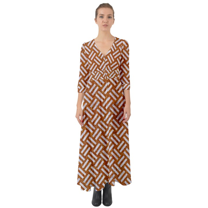 WOVEN2 WHITE MARBLE & RUSTED METAL Button Up Boho Maxi Dress