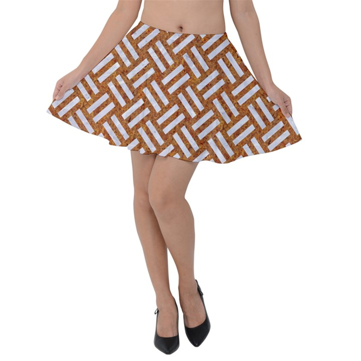 WOVEN2 WHITE MARBLE & RUSTED METAL Velvet Skater Skirt
