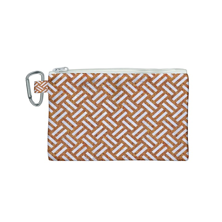 WOVEN2 WHITE MARBLE & RUSTED METAL Canvas Cosmetic Bag (Small)