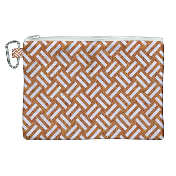 WOVEN2 WHITE MARBLE & RUSTED METAL Canvas Cosmetic Bag (XL)