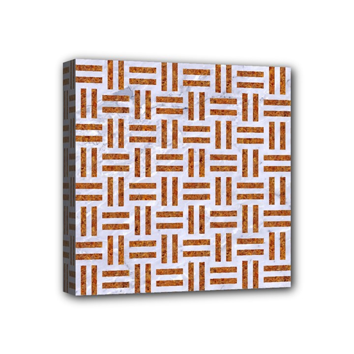 WOVEN1 WHITE MARBLE & RUSTED METAL (R) Mini Canvas 4  x 4