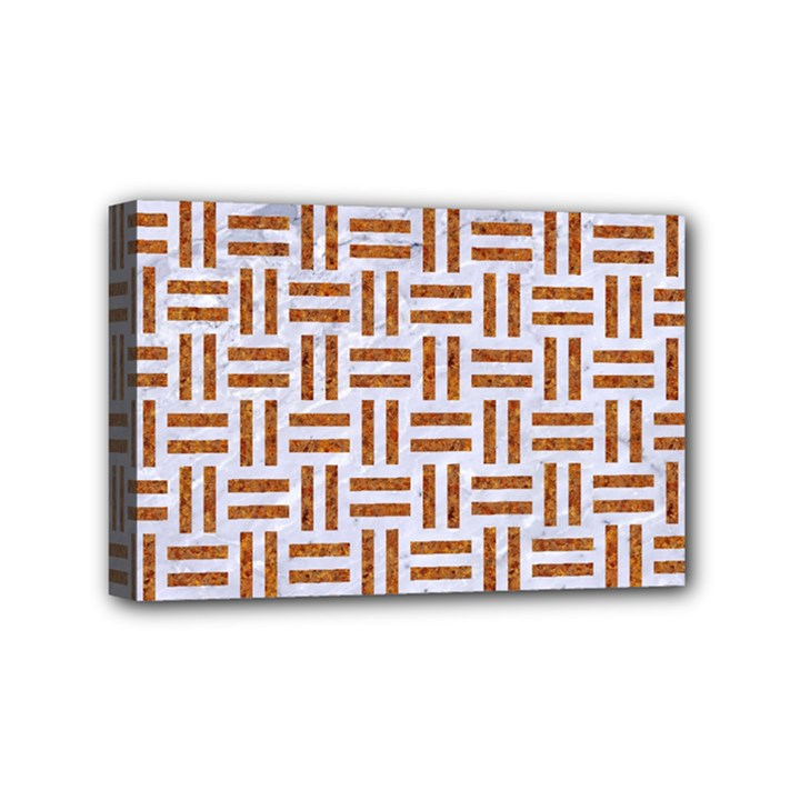WOVEN1 WHITE MARBLE & RUSTED METAL (R) Mini Canvas 6  x 4