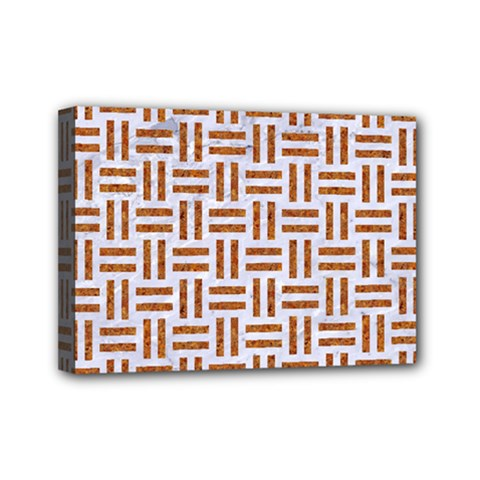 Woven1 White Marble & Rusted Metal (r) Mini Canvas 7  X 5
