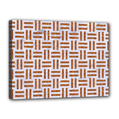 Woven1 White Marble & Rusted Metal (r) Canvas 16  X 12