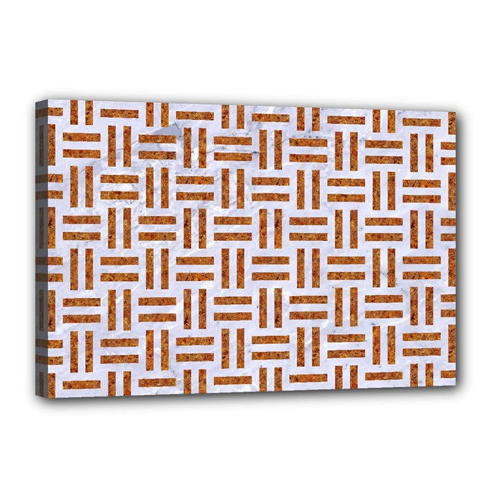 WOVEN1 WHITE MARBLE & RUSTED METAL (R) Canvas 18  x 12