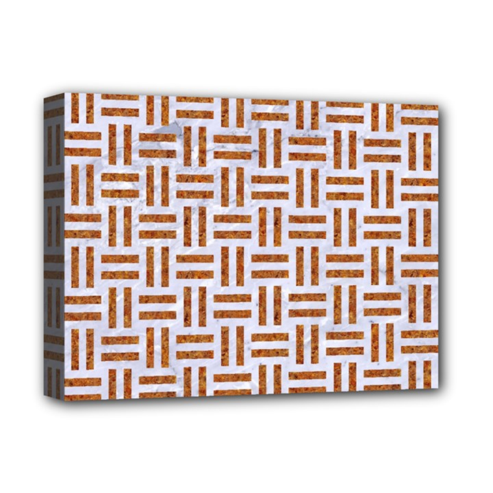 WOVEN1 WHITE MARBLE & RUSTED METAL (R) Deluxe Canvas 16  x 12