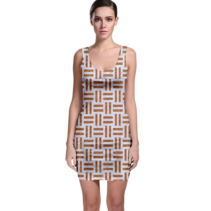 WOVEN1 WHITE MARBLE & RUSTED METAL (R) Bodycon Dress
