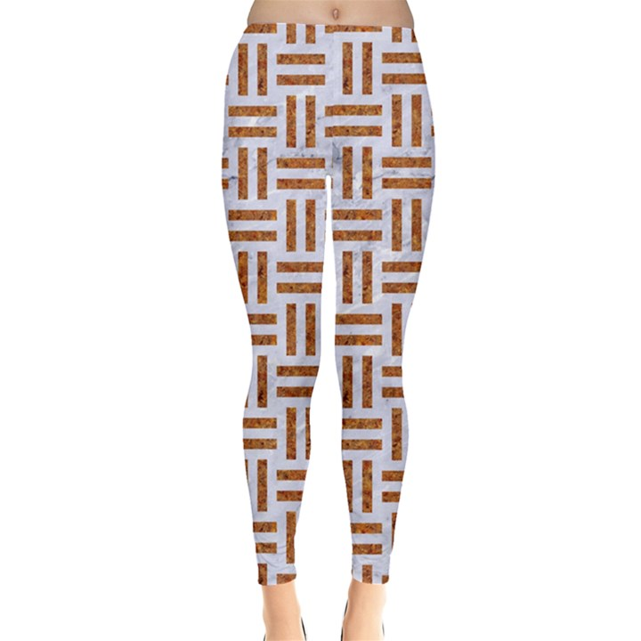WOVEN1 WHITE MARBLE & RUSTED METAL (R) Leggings