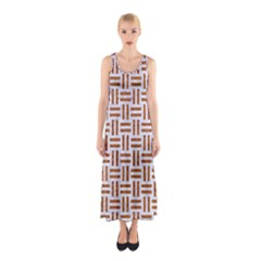 Woven1 White Marble & Rusted Metal (r) Sleeveless Maxi Dress