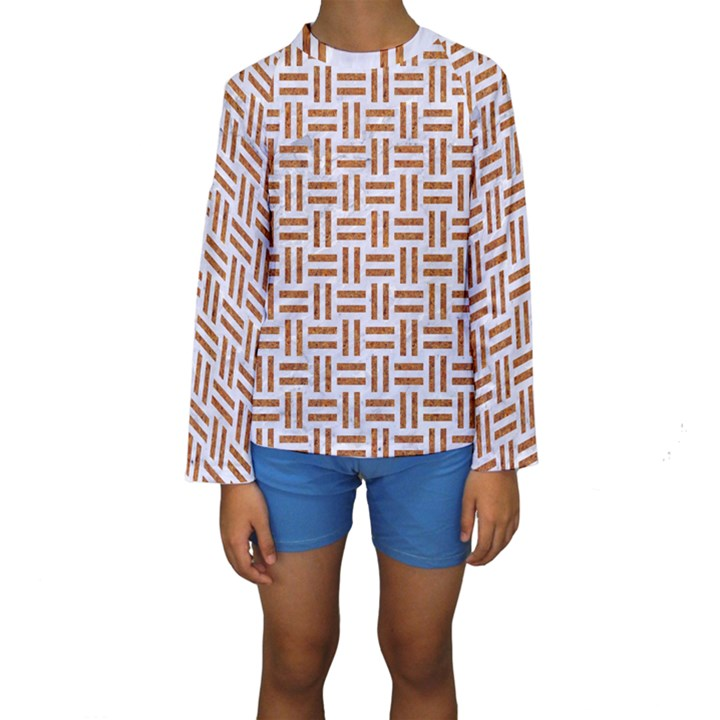 WOVEN1 WHITE MARBLE & RUSTED METAL (R) Kids  Long Sleeve Swimwear