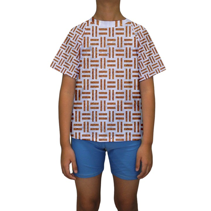 WOVEN1 WHITE MARBLE & RUSTED METAL (R) Kids  Short Sleeve Swimwear
