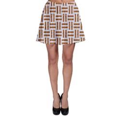 Woven1 White Marble & Rusted Metal (r) Skater Skirt