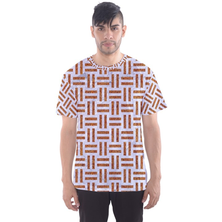 WOVEN1 WHITE MARBLE & RUSTED METAL (R) Men s Sports Mesh Tee