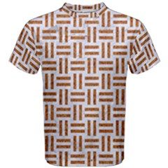 Woven1 White Marble & Rusted Metal (r) Men s Cotton Tee