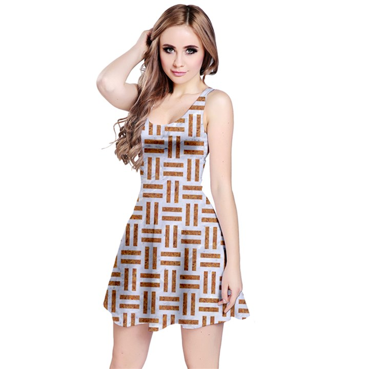 WOVEN1 WHITE MARBLE & RUSTED METAL (R) Reversible Sleeveless Dress