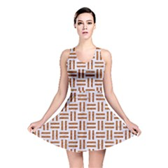 Woven1 White Marble & Rusted Metal (r) Reversible Skater Dress