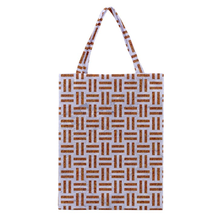 WOVEN1 WHITE MARBLE & RUSTED METAL (R) Classic Tote Bag