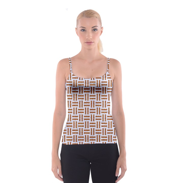 WOVEN1 WHITE MARBLE & RUSTED METAL (R) Spaghetti Strap Top