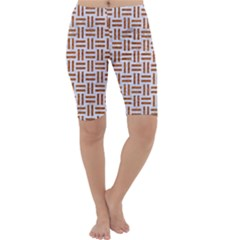Woven1 White Marble & Rusted Metal (r) Cropped Leggings