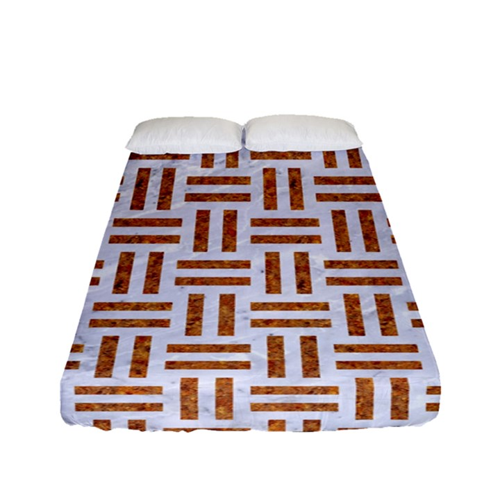 WOVEN1 WHITE MARBLE & RUSTED METAL (R) Fitted Sheet (Full/ Double Size)