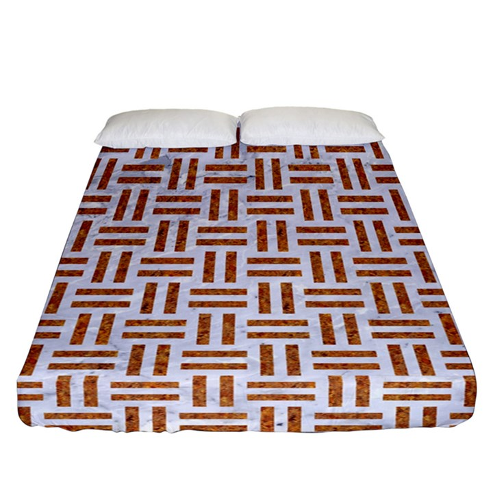 WOVEN1 WHITE MARBLE & RUSTED METAL (R) Fitted Sheet (California King Size)