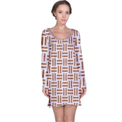 Woven1 White Marble & Rusted Metal (r) Long Sleeve Nightdress