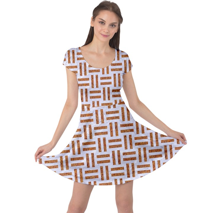 WOVEN1 WHITE MARBLE & RUSTED METAL (R) Cap Sleeve Dress