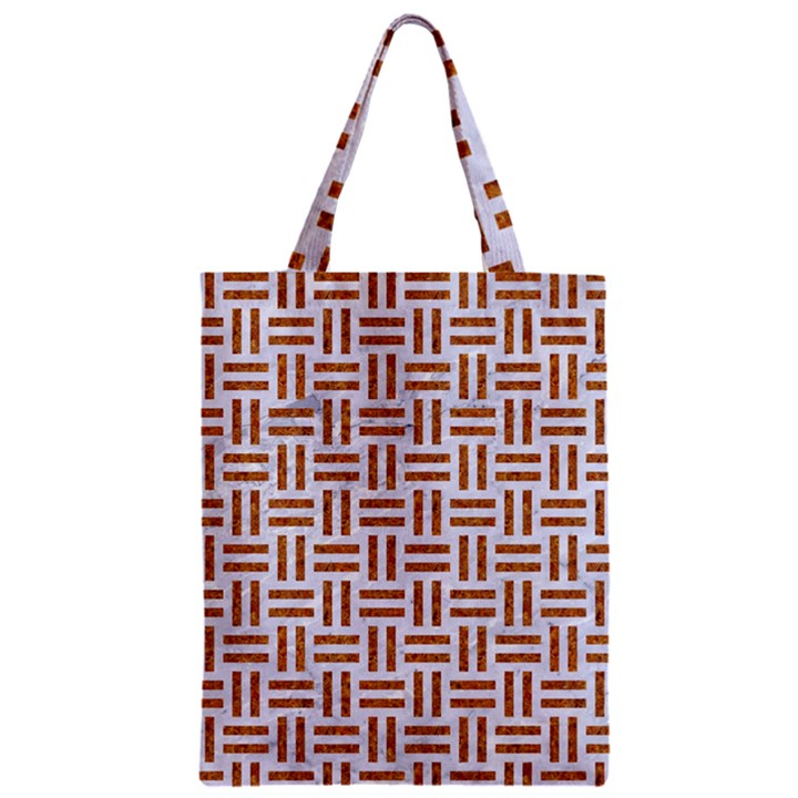 WOVEN1 WHITE MARBLE & RUSTED METAL (R) Zipper Classic Tote Bag