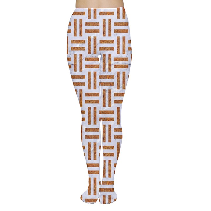 WOVEN1 WHITE MARBLE & RUSTED METAL (R) Women s Tights
