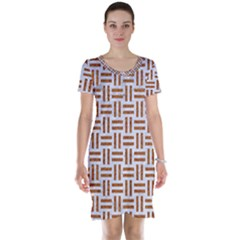 Woven1 White Marble & Rusted Metal (r) Short Sleeve Nightdress