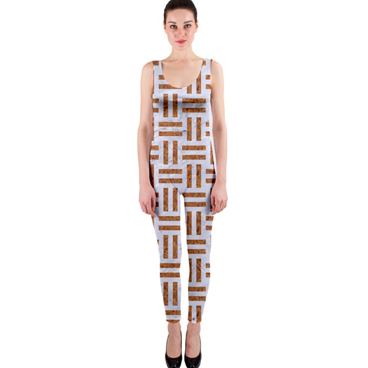 WOVEN1 WHITE MARBLE & RUSTED METAL (R) One Piece Catsuit
