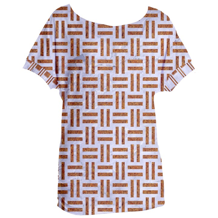 WOVEN1 WHITE MARBLE & RUSTED METAL (R) Women s Oversized Tee