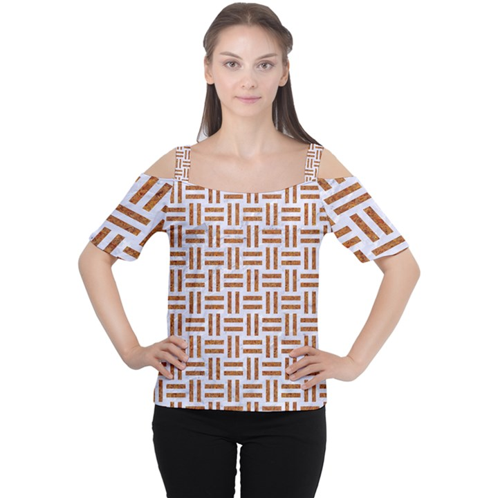WOVEN1 WHITE MARBLE & RUSTED METAL (R) Cutout Shoulder Tee