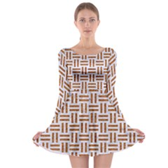 Woven1 White Marble & Rusted Metal (r) Long Sleeve Skater Dress