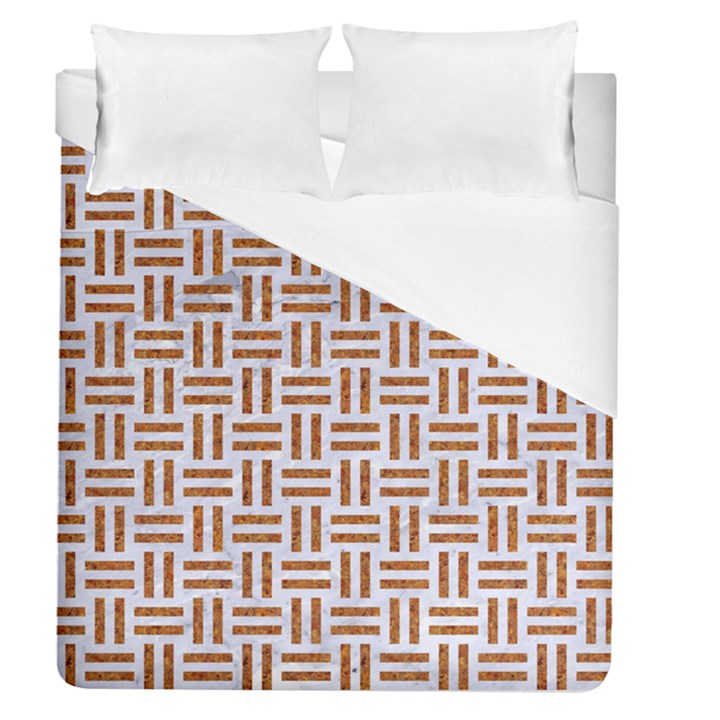 WOVEN1 WHITE MARBLE & RUSTED METAL (R) Duvet Cover (Queen Size)