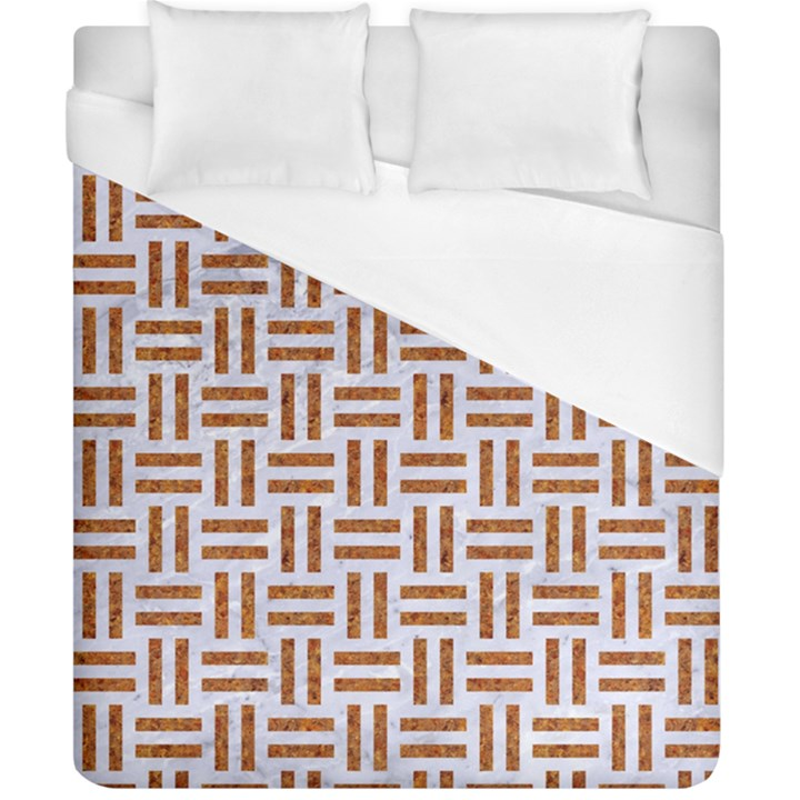 WOVEN1 WHITE MARBLE & RUSTED METAL (R) Duvet Cover (California King Size)
