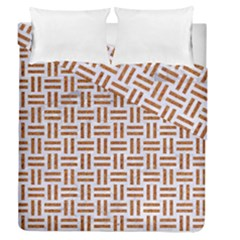 Woven1 White Marble & Rusted Metal (r) Duvet Cover Double Side (queen Size)