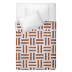 Woven1 White Marble & Rusted Metal (r) Duvet Cover Double Side (single Size)
