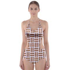 Woven1 White Marble & Rusted Metal (r) Cut Out One Piece Swimsuit