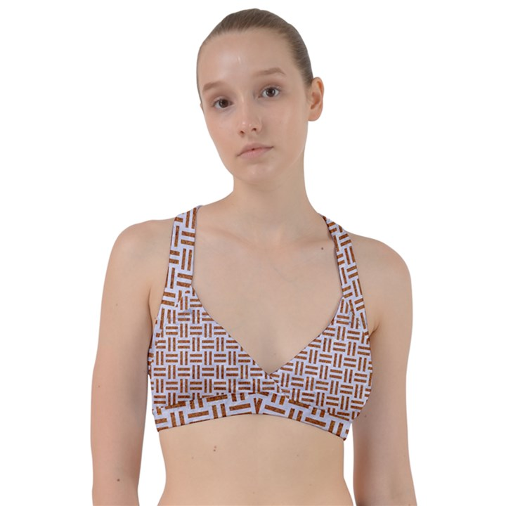 WOVEN1 WHITE MARBLE & RUSTED METAL (R) Sweetheart Sports Bra