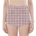 WOVEN1 WHITE MARBLE & RUSTED METAL (R) High-Waisted Bikini Bottoms View1