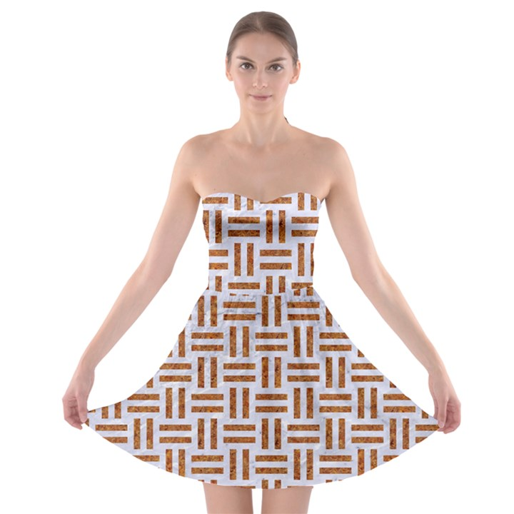 WOVEN1 WHITE MARBLE & RUSTED METAL (R) Strapless Bra Top Dress