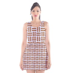 Woven1 White Marble & Rusted Metal (r) Scoop Neck Skater Dress