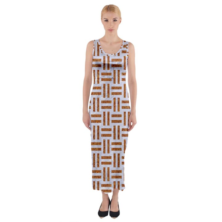 WOVEN1 WHITE MARBLE & RUSTED METAL (R) Fitted Maxi Dress