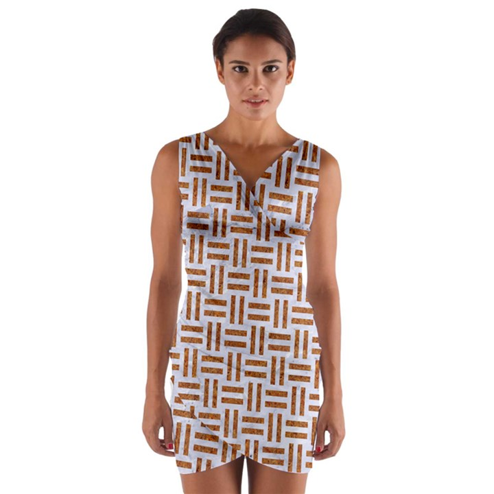 WOVEN1 WHITE MARBLE & RUSTED METAL (R) Wrap Front Bodycon Dress