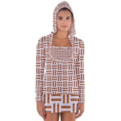 Woven1 White Marble & Rusted Metal (r) Long Sleeve Hooded T Shirt