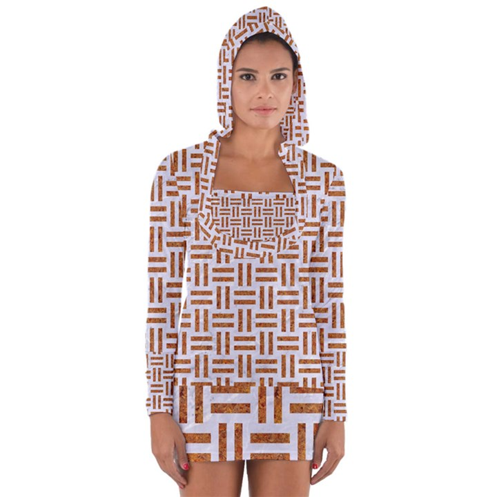 WOVEN1 WHITE MARBLE & RUSTED METAL (R) Long Sleeve Hooded T-shirt