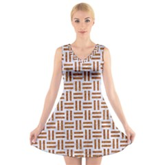 Woven1 White Marble & Rusted Metal (r) V Neck Sleeveless Skater Dress
