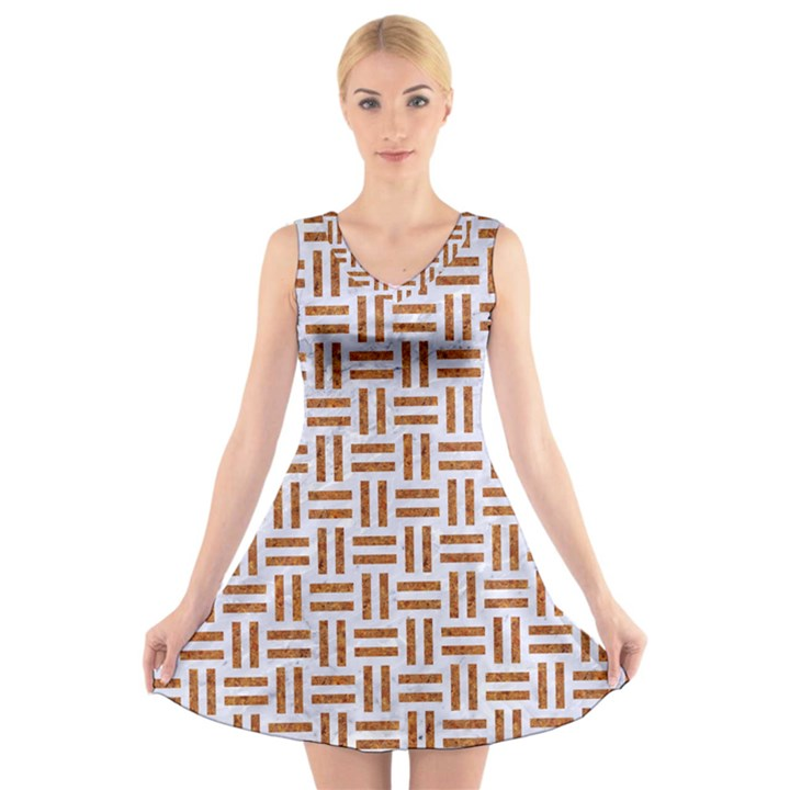 WOVEN1 WHITE MARBLE & RUSTED METAL (R) V-Neck Sleeveless Skater Dress