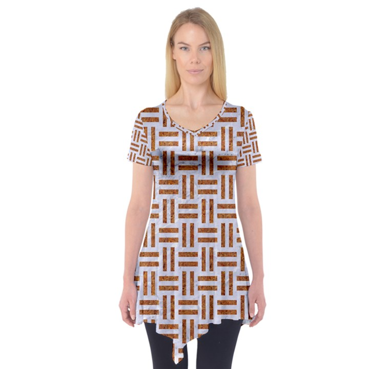 WOVEN1 WHITE MARBLE & RUSTED METAL (R) Short Sleeve Tunic